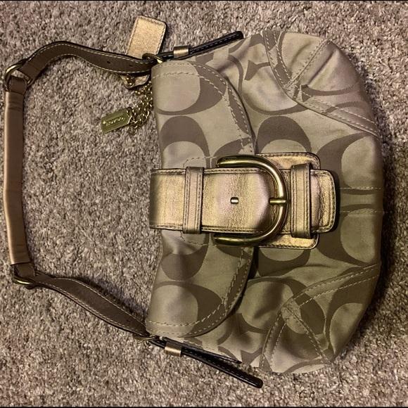 Coach Handbags - Coach Small Gold Jacquard Purse
